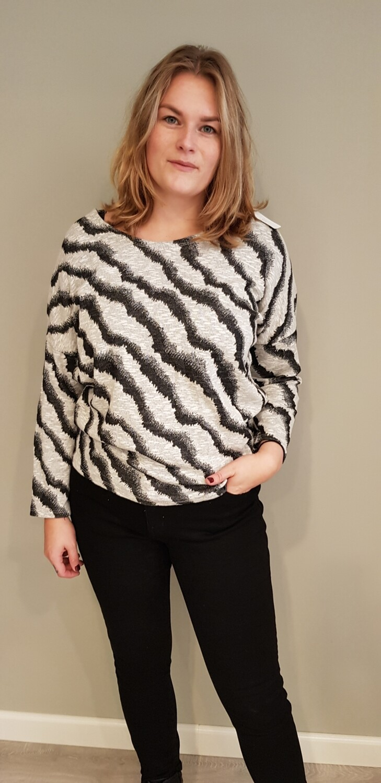 Wave trui met glitter zwart met room