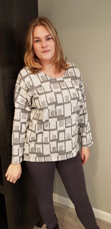 Blok trui met glitter grijs
