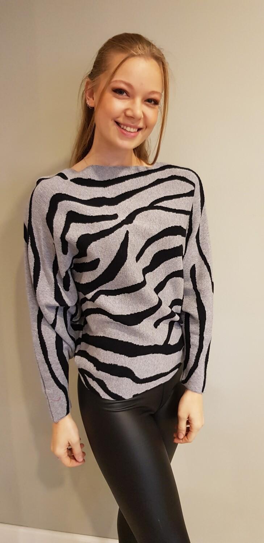 Zebra trui grijs met zwart