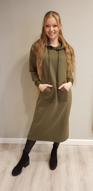 Lange hoody jurk groen
