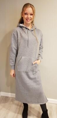 Lange hoody jurk grijs
