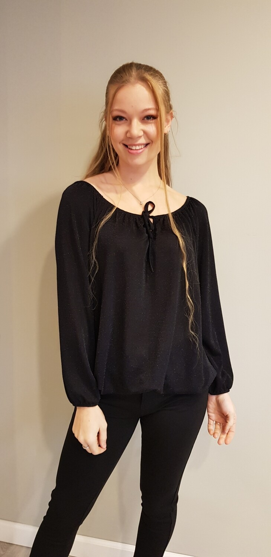 Zwart glitter blouse met strikje
