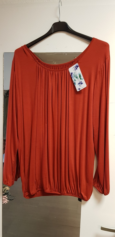 Basic shirt met lange mouw brique