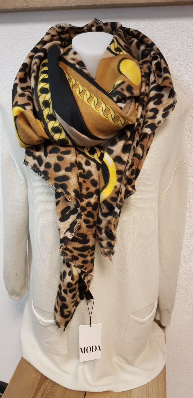 Wintersjaal panter met geel