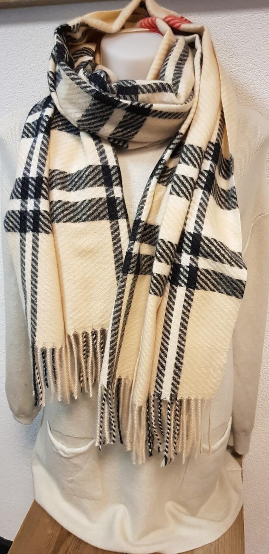 Wintersjaal beige met zwart streep
