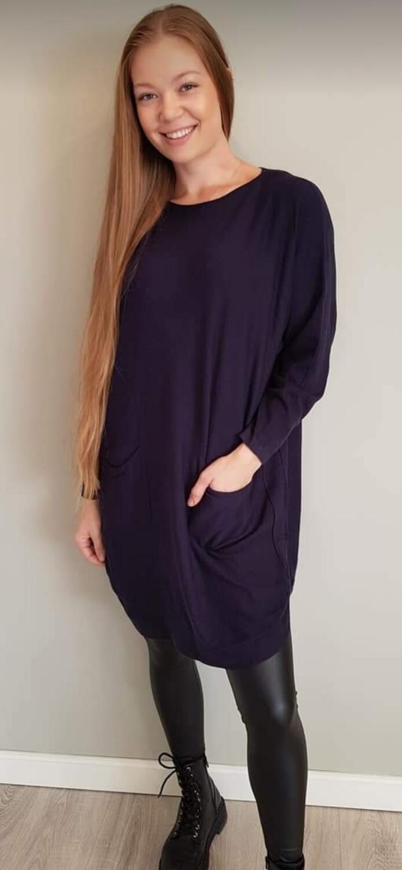 Comfy lange trui donker blauw