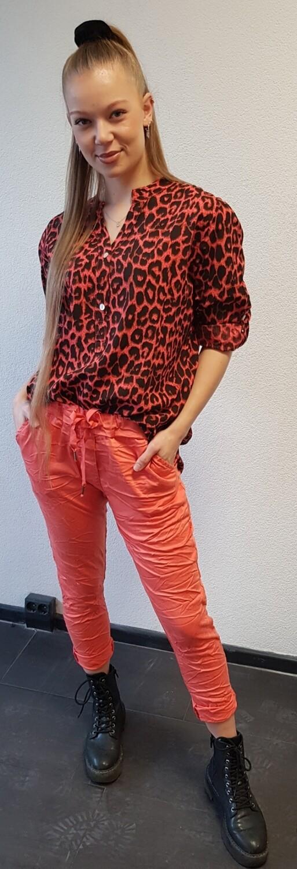 Panter Print blouse koraal met zwart