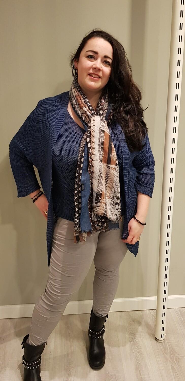 Sjaal blauw grijs en poederroze
