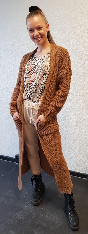 Grof gebreid vest camel/bruin