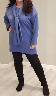 Tricot tuniek met sjaal jeans blauw