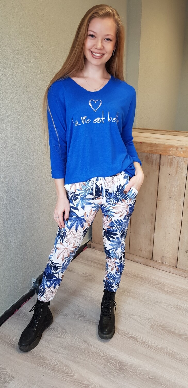 La Vie est Belle shirt  kobalt