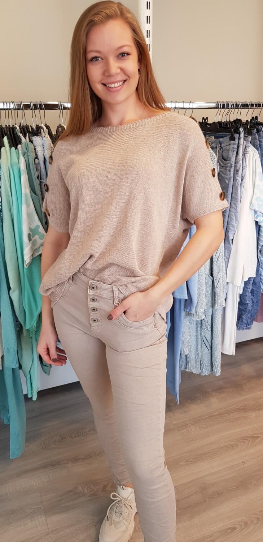 Jewelly jeans beige knoop