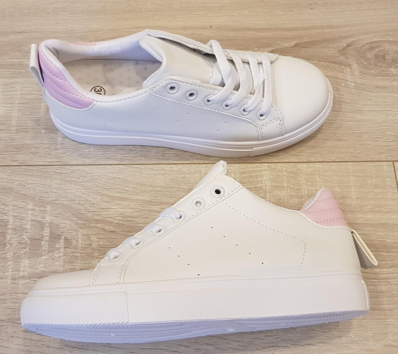 Sneaker wit met roze achterkant