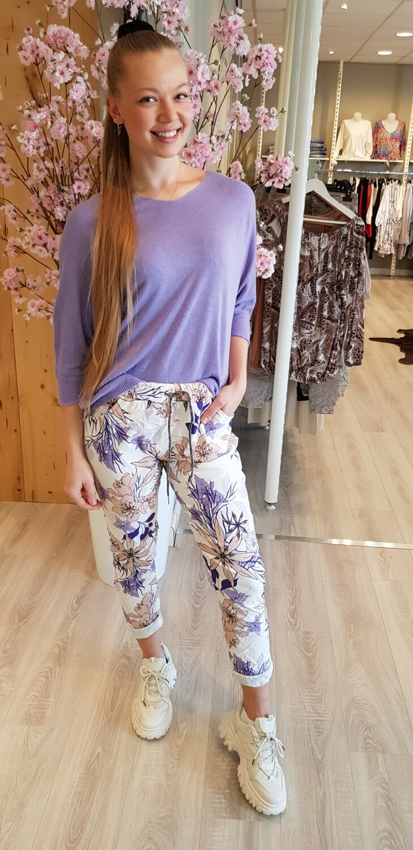 Print jogging lila bloem