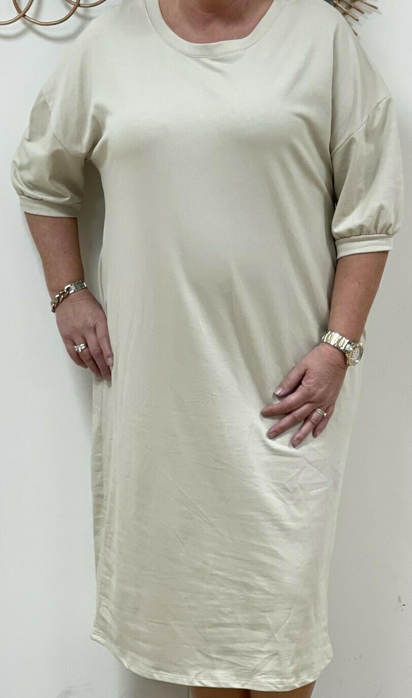Plus size jog jurk beige