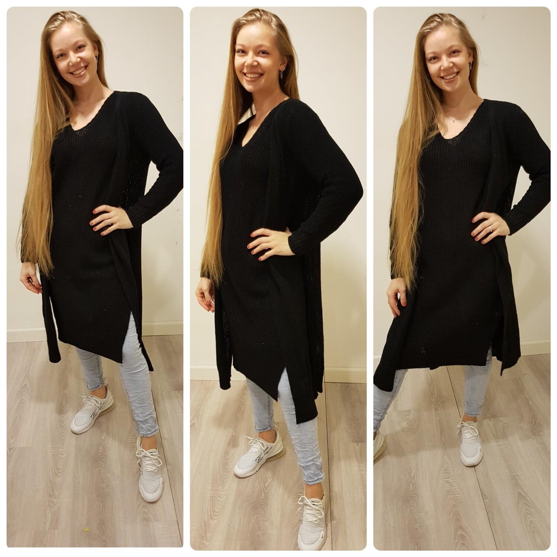 Zwart katoenen jurk en vest combinatie deal