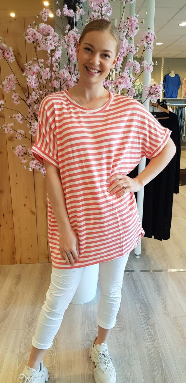Shirt met korte mouw stripes koraal