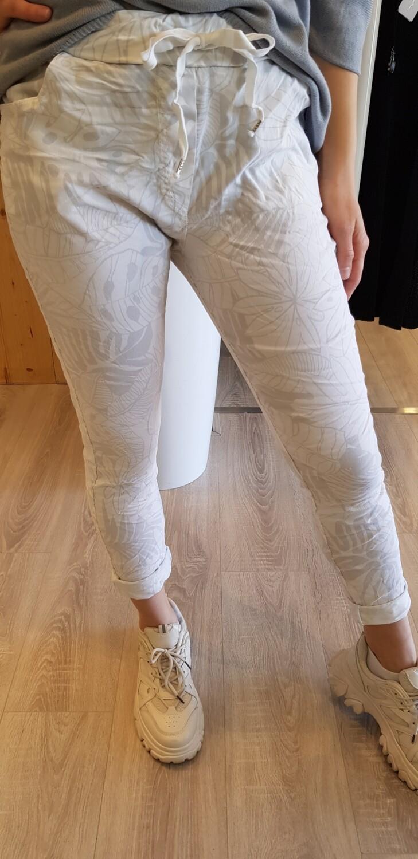 Joggingbroek blad grijs met wit