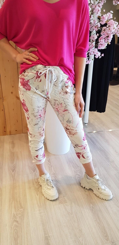 Jogging bloem hard roze roomwit