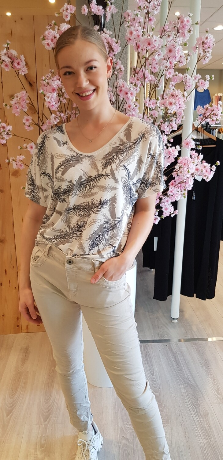 Jewelly beige jeans rits
