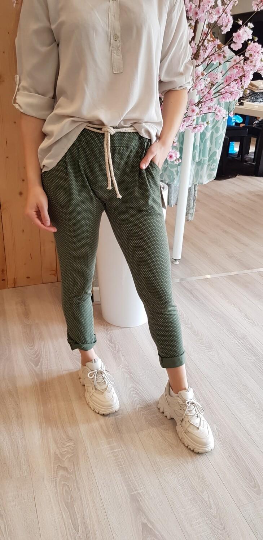 jog pantalon groen stip