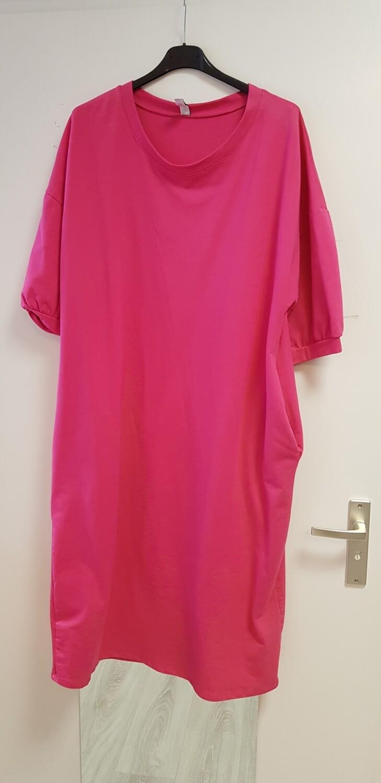 Plus size jog jurk hard roze