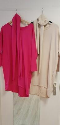 Tricot tuniek met sjaal roze