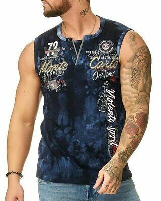 Violento Mouwloos shirt blauw