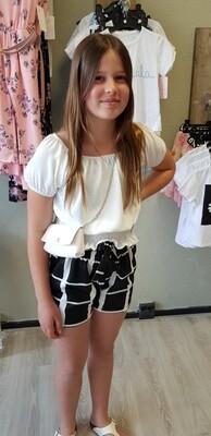 Zwart met witte short