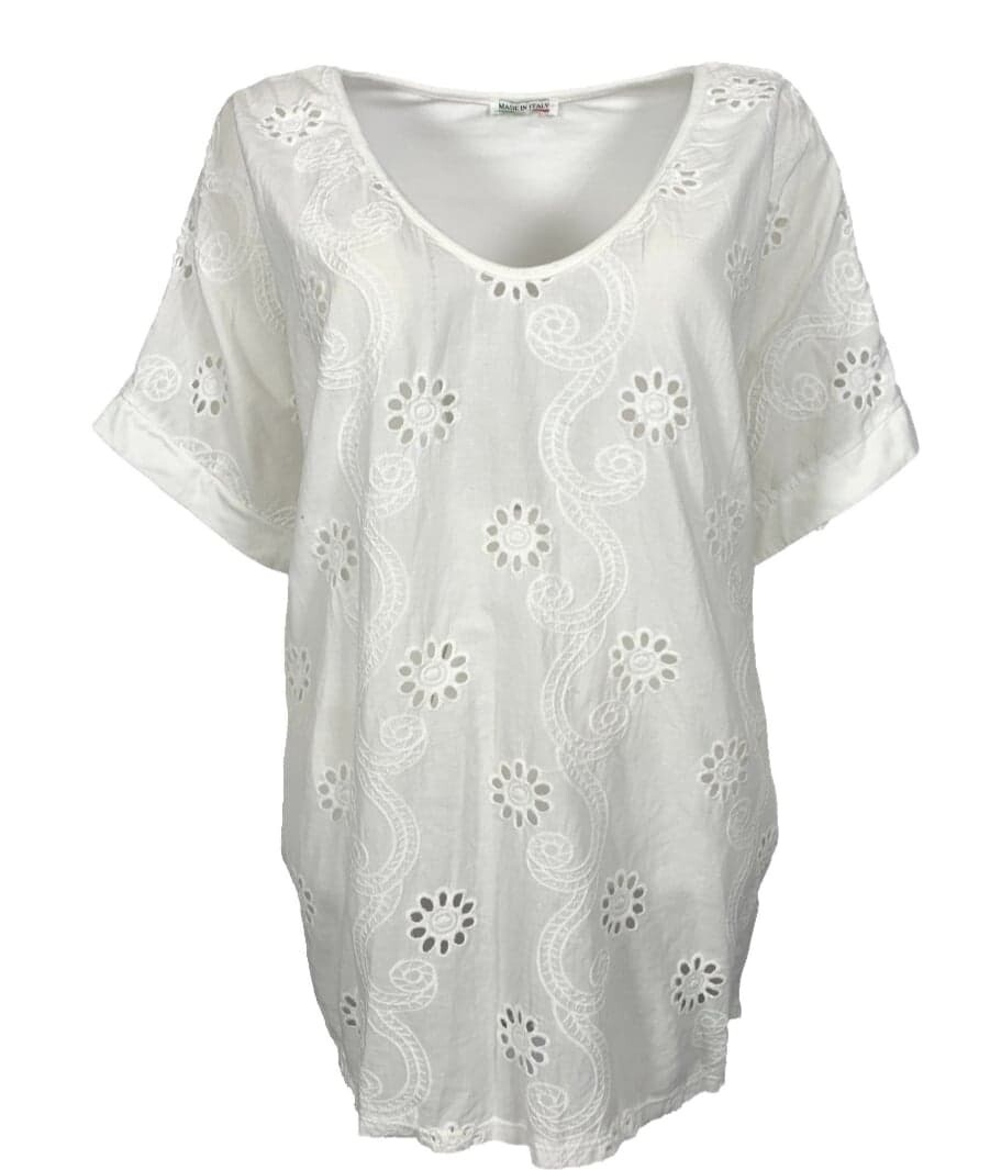Broderie top Wit