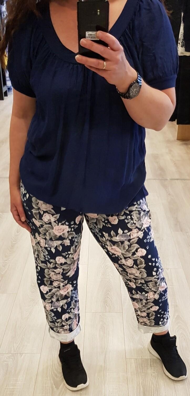 Jogging bloem blauw met roze