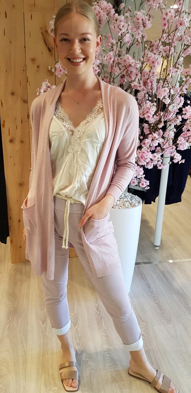 Basic half lang vest roze