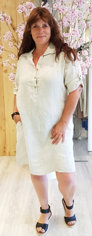 Linnen knoop jurk beige