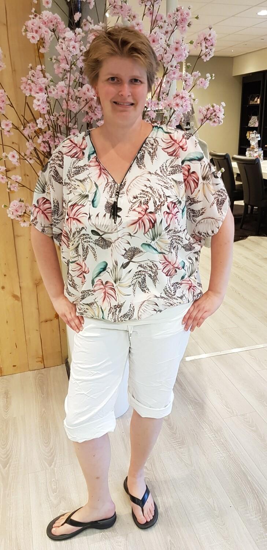 Ballon blouse Hawaii wit