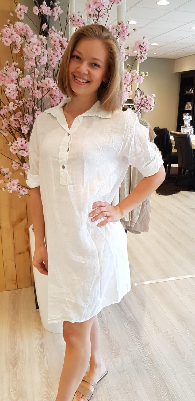 Linnen knoop jurk wit