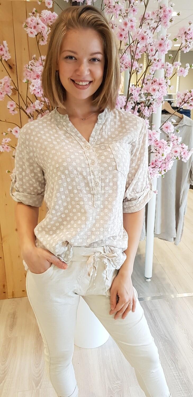Dot blouse beige