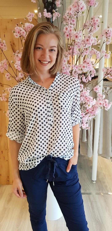 Dot blouse wit