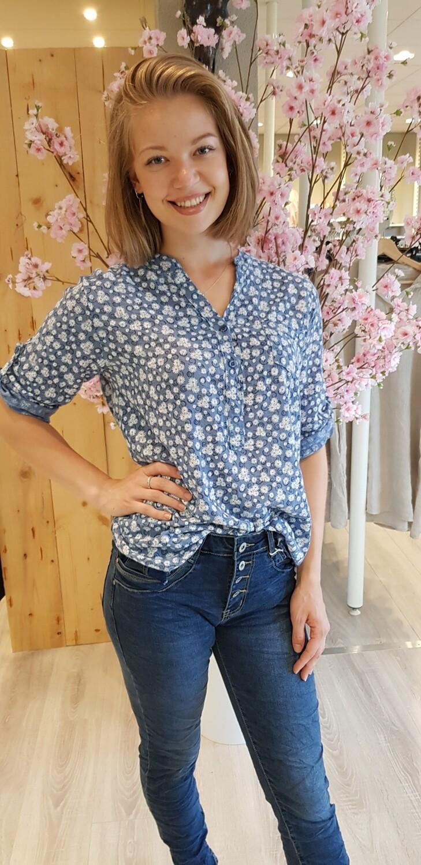 Blouse Flora jeans blauw