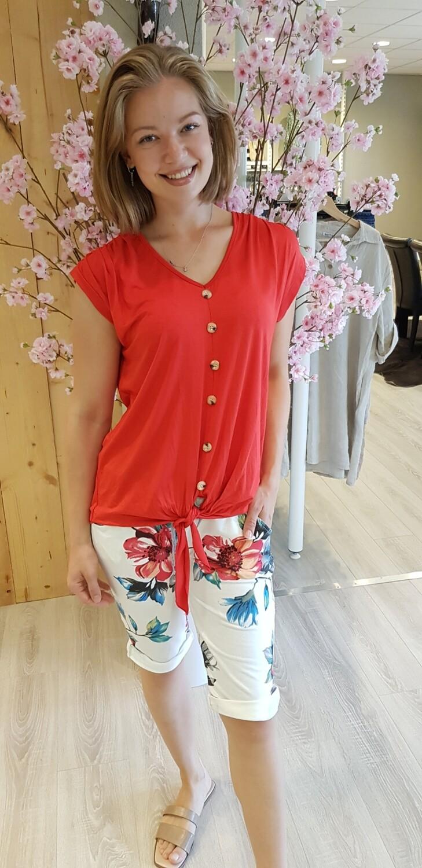 Jogging short Daisy bloem rood