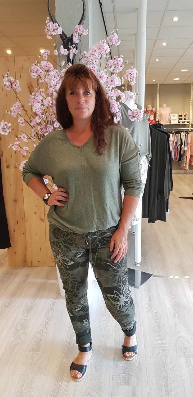 Jogg Jeans flower groen