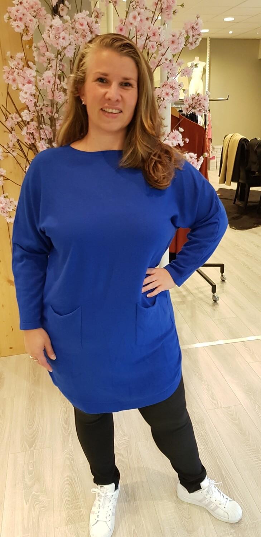 Lange trui met strikjes kobalt