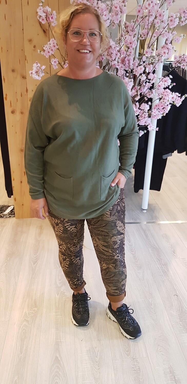 Jog jeans suedine groen herfst