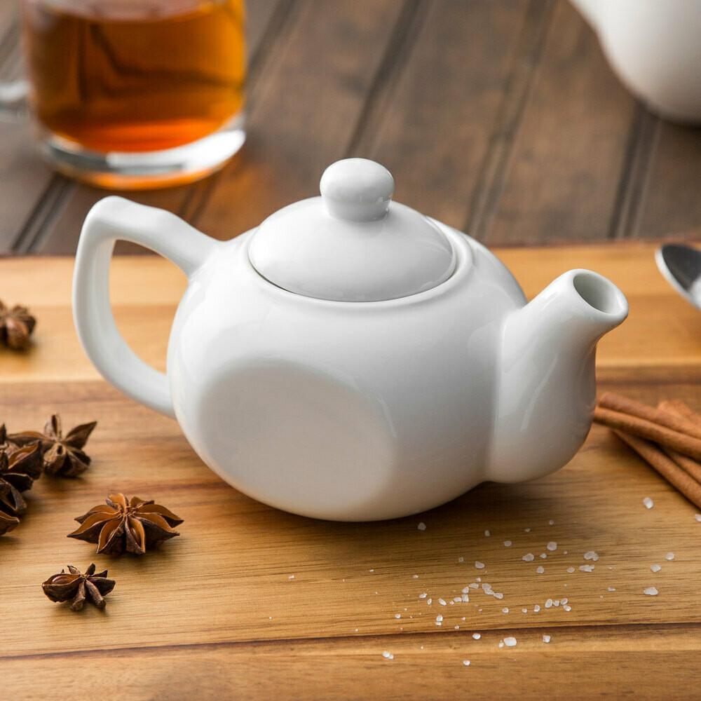 White Porcelain Teapot for One