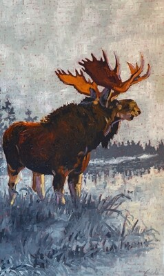 Moose 2020, 24x40, oil on canvas