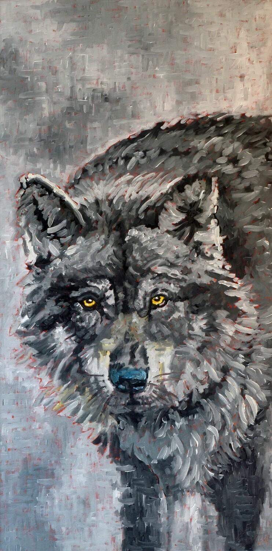 Wolf 2, oil on canvas, 20x48