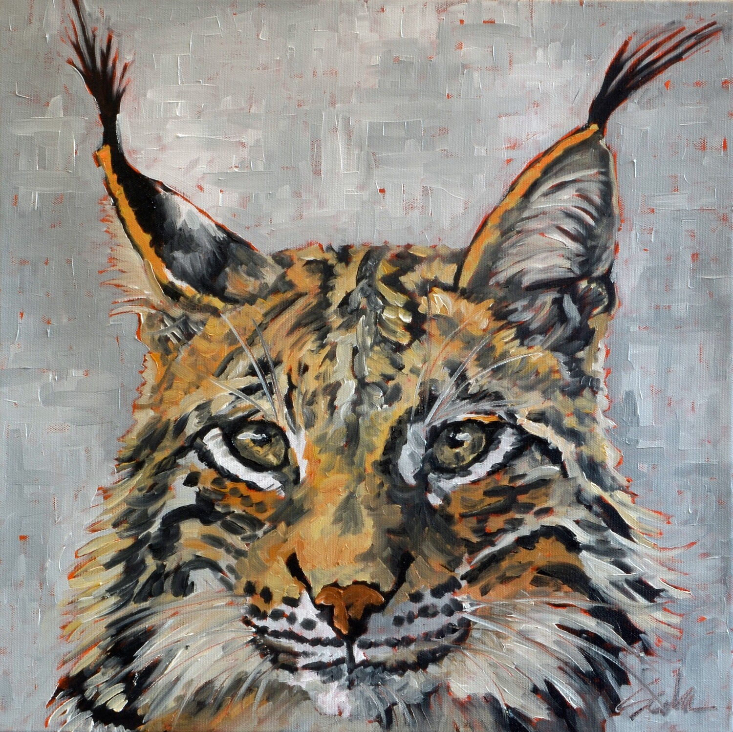 Lynx, oil on canvas, 18x18, SOLD