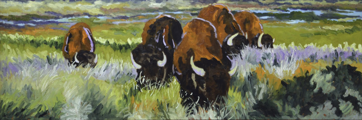 Bison Grazing #3, 20x60, 2018 - SOLD
