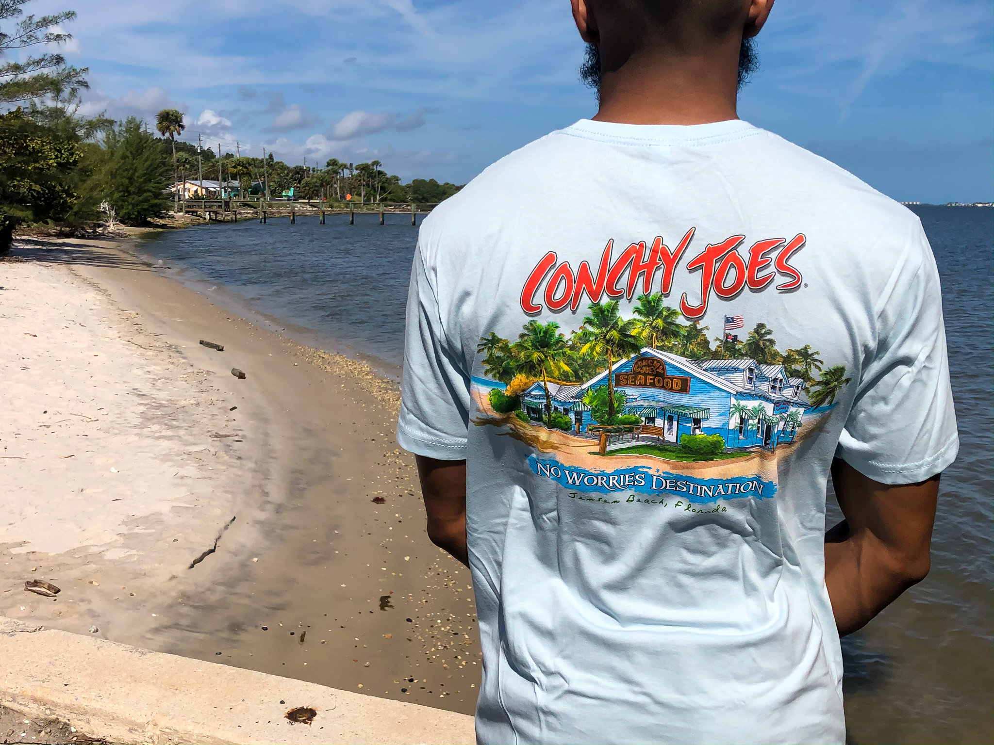 """No Worries Destination"" Short Sleeve Cotton T-Shirt CJNW"