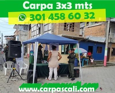CARPA TOLDO PARASOL DE 3X3 POLIETILENO AZUL