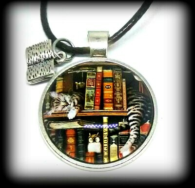 Library Book Shelf Necklace with Sleeping Cat